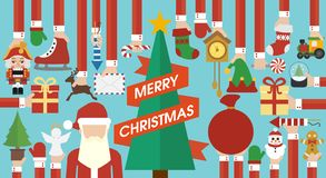 Vrolijke Kerstmis, Nieuwjaarontwerp vlak met Kerstboom vector illustratie