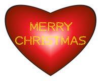 Vrolijke Kerstmis op hartachtergrond Stock Afbeeldingen