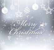 Vrolijke Kerstmis op sneeuwachtergrond met ballen en sterren Royalty-vrije Stock Foto