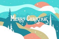 Vrolijke Kerstmis Prentbriefkaar met bergen en sneeuw behandelde heuvelssneeuwval en de zonbomen Het landschap van de winter royalty-vrije illustratie
