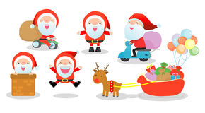 Vrolijke Kerstmis, reeks van Santa Clauses, Inzameling van Kerstmis Santa Claus op witte achtergrond, Vector Illustratie