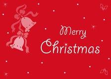 Vrolijke Kerstmis rode kaart Stock Foto
