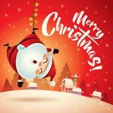 Vrolijke Kerstmis! Santa Claus in de scène van de Kerstmissneeuw De Kerstman op een slee Royalty-vrije Stock Foto