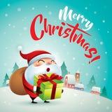 Vrolijke Kerstmis! Santa Claus in de scène van de Kerstmissneeuw De Kerstman op een slee Royalty-vrije Stock Fotografie