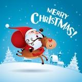 Vrolijke Kerstmis! Santa Claus die Rudolph Reindeer berijden vector illustratie