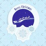 Vrolijke Kerstmis Santa Claus en hertenkaart Stock Afbeeldingen