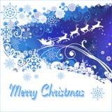 Vrolijke Kerstmis Santa Claus en hertenkaart Royalty-vrije Stock Foto's