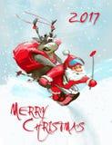 Vrolijke Kerstmis Santa Claus en hertenkaart Stock Afbeelding
