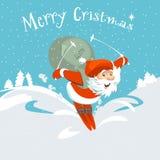 Vrolijke Kerstmis Santa Claus en hertenkaart Royalty-vrije Stock Foto