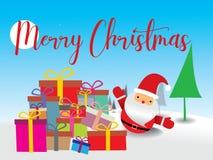 Vrolijke Kerstmis Santa Claus en Kerstboom in Kerstmissneeuw royalty-vrije illustratie