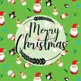 Vrolijke Kerstmis Santa Claus en Kerstboom in Kerstmissneeuw stock illustratie