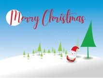 Vrolijke Kerstmis Santa Claus en Kerstboom in Kerstmissneeuw vector illustratie