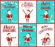 Vrolijke Kerstmis Santa Claus Having Fun Outdoors vector illustratie