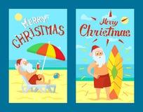 Vrolijke Kerstmis Santa Claus Lying op Sunbed-Vector stock illustratie