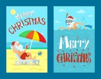 Vrolijke Kerstmis Santa Claus Lying op Sunbed-Vector vector illustratie