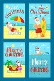 Vrolijke Kerstmis Santa Claus Lying Sunbed Surfboard stock illustratie