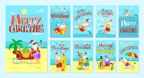 Vrolijke Kerstmis Santa Claus Resting op Eilanden royalty-vrije illustratie