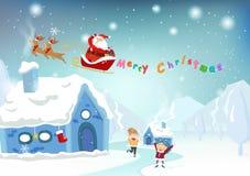 Vrolijke Kerstmis, Santa Claus-verrassingsgift voor jonge geitjes, leuke cartoo stock illustratie
