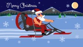Vrolijke Kerstmis Slechte Santa Claus op een aerosleigh berijdt met giften royalty-vrije illustratie