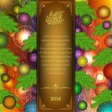Vrolijke Kerstmis trifold met Kerstmisballen en sparrenelementen Royalty-vrije Stock Afbeelding