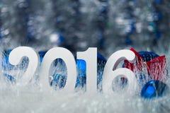 Vrolijke Kerstmis van de conceptenfoto met wit groot cijfer Stock Afbeeldingen