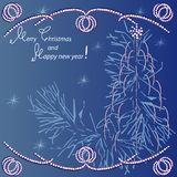 Vrolijke Kerstmis van de groetkaart ` en Gelukkig nieuw jaar! Royalty-vrije Stock Afbeeldingen