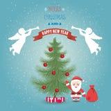 Vrolijke Kerstmis van de groetkaart en gelukkig nieuw jaar met Kerstman Clau stock illustratie