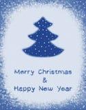 Vrolijke Kerstmis van de groetkaart en Gelukkig Nieuwjaar Stock Foto