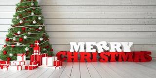 Vrolijke Kerstmis van de groetkaart met Kerstmisboom en giften op houten bacground Stock Foto