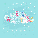 Vrolijke Kerstmis van de Kerstmis Leuke inschrijving met sterren Vector Stock Afbeelding