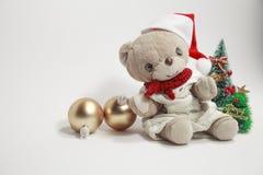 Vrolijke Kerstmis van de leuke teddybeer Stock Foto