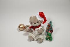 Vrolijke Kerstmis van de leuke teddybeer Stock Afbeelding
