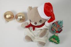 Vrolijke Kerstmis van de leuke teddybeer Stock Afbeeldingen