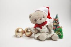 Vrolijke Kerstmis van de leuke teddybeer Royalty-vrije Stock Fotografie