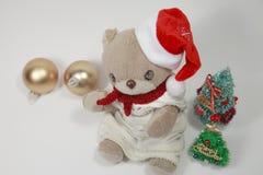 Vrolijke Kerstmis van de leuke teddybeer Stock Foto's