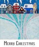 Vrolijke Kerstmis van de prentbriefkaar De stad van de nachtwinter Royalty-vrije Stock Foto's