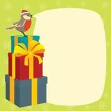 Vrolijke Kerstmis van de wensen van Birdy Stock Foto