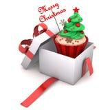 Vrolijke Kerstmis van giftcupcake Stock Foto's