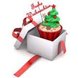 Vrolijke Kerstmis van giftcupcake Royalty-vrije Stock Afbeelding