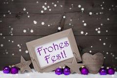 Vrolijke Kerstmis van Gray Purple Frohes Fest Means, Sneeuwvlokken Royalty-vrije Stock Fotografie