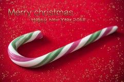 Vrolijke Kerstmis van het suikergoedriet en gelukkige nieuwe jaarkaart Royalty-vrije Stock Fotografie
