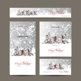 Vrolijke Kerstmis, vastgestelde prentbriefkaaren met cityscape Stock Fotografie