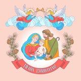 Vrolijke Kerstmis Vector groetkaart Maagdelijke Mary, baby Jesus a royalty-vrije illustratie