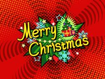 Vrolijke Kerstmis vectoraffiche als achtergrond, de giftkaart van de vakantieuitnodiging, grappige boekstijl Royalty-vrije Stock Fotografie