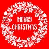 Vrolijke Kerstmis vectorkaart met witte kroon op rode achtergrond Royalty-vrije Stock Foto