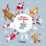 Vrolijke Kerstmis vectorplaneet Stock Foto