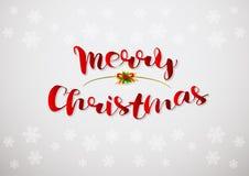 Vrolijke Kerstmis Vectortekst Het kalligrafische Van letters voorziende malplaatje van de ontwerpkaart stock illustratie