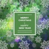 Vrolijke Kerstmis veelhoekige achtergrond met sneeuwvlokken Royalty-vrije Stock Fotografie