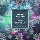 Vrolijke Kerstmis veelhoekige achtergrond met sneeuwvlokken Stock Fotografie