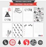 Vrolijke Kerstmis voor het drukken geschikte reeks Royalty-vrije Stock Afbeeldingen